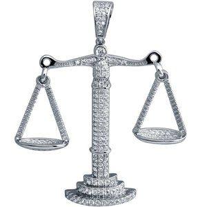 Silver 925 Rhodium Plated CZ Libra Scale Pendant